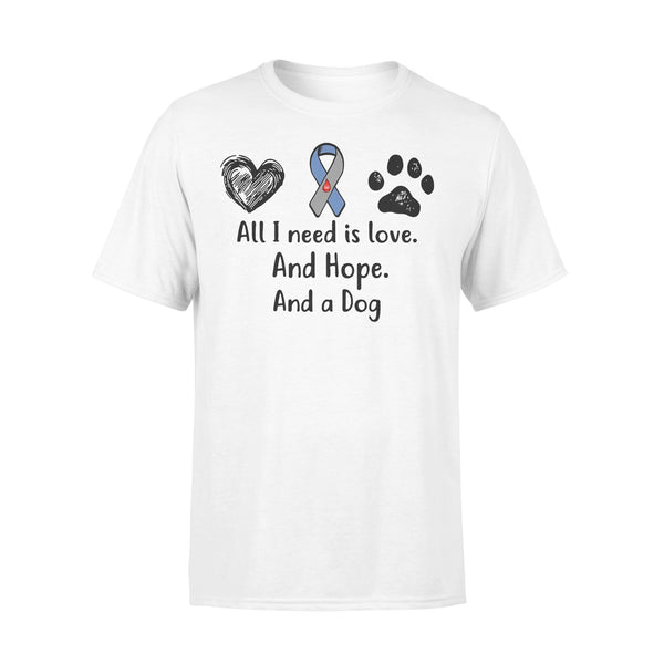 All I Need Is Love And Hope And A Dog Diabetes Awareness T-shirt L By AllezyShirt