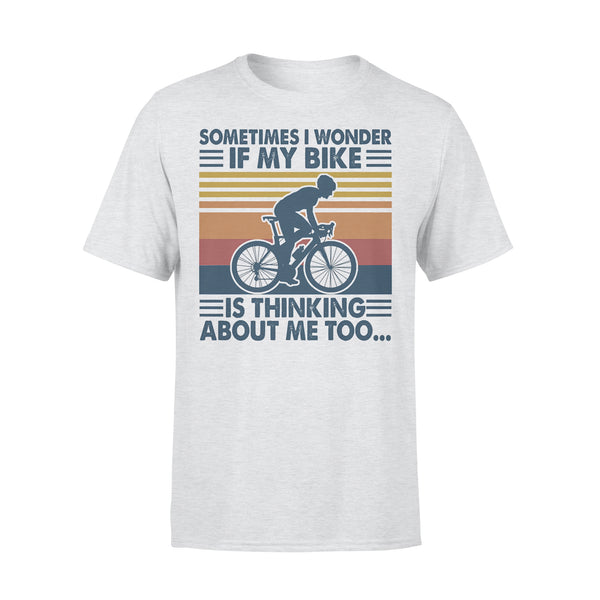 Sometimes I Wonder If My Bike Is Thinking About Me Too Bicycle Vintage Retro T-shirt XL By AllezyShirt