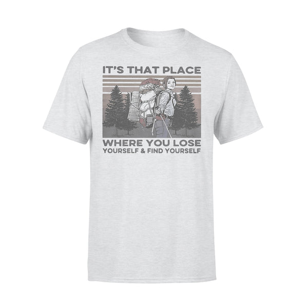 It's That Place Where You Lose Yourself And Find Yourself Hiking Vintage T-shirt XL By AllezyShirt