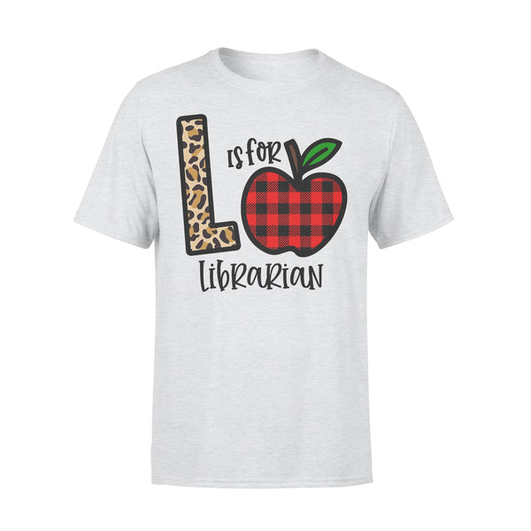 L Is For Librarian Apple Buffalo Plaid T-shirt XL By AllezyShirt