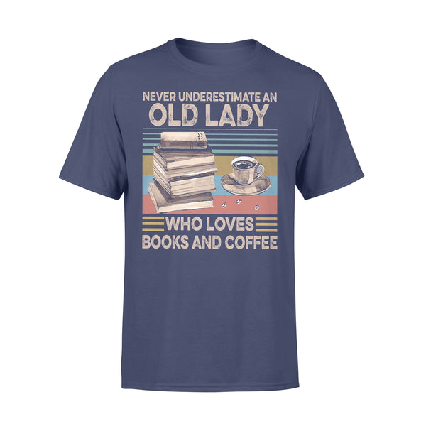 Never Underestimate An Old Lady Who Loves Books And Coffee Vintage T-shirt XL By AllezyShirt