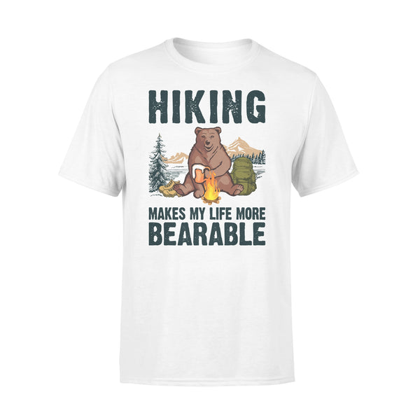 Hiking Makes My Life More Bearable Sarcasm Beer T-shirt L By AllezyShirt