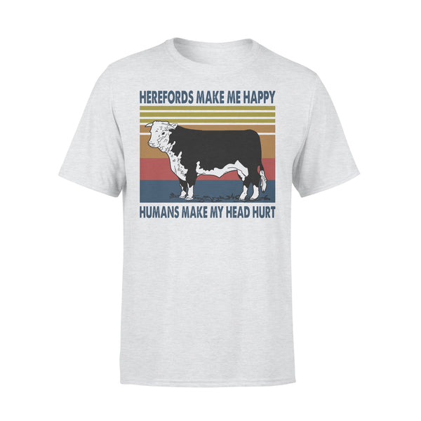 Herefords Make Me Happy Humans Make My Head Hurt Farm Vintage T-shirt XL By AllezyShirt