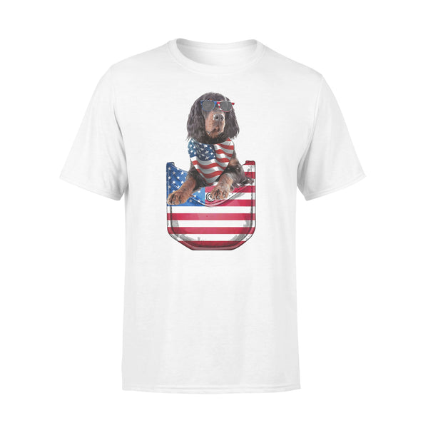 Gordon Setter Pocket American Flag Independence Day T-shirt L By AllezyShirt