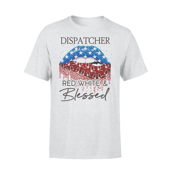 Lips Dispatcher Red White And Blessed American Flag Independence Day T-shirt XL By AllezyShirt