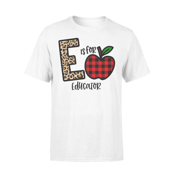 E Is For Educator Apple Buffalo Plaid T-shirt L By AllezyShirt