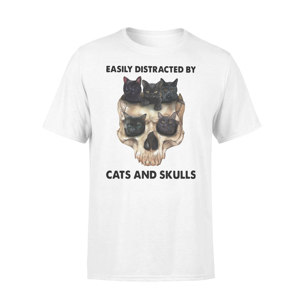 Easily Distracted By Black Cats And Skulls T-shirt L By AllezyShirt
