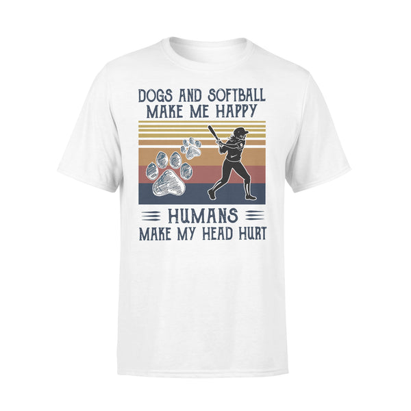 Dogs And Softball Make Me Happy Humans Make My Head Hurt Vintage T-shirt L By AllezyShirt