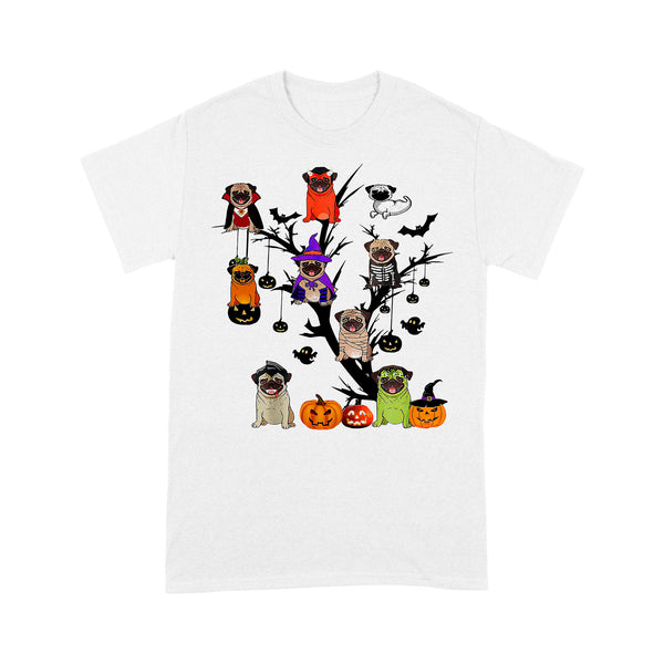 Pug Dog Halloween Tree T-shirt S By AllezyShirt