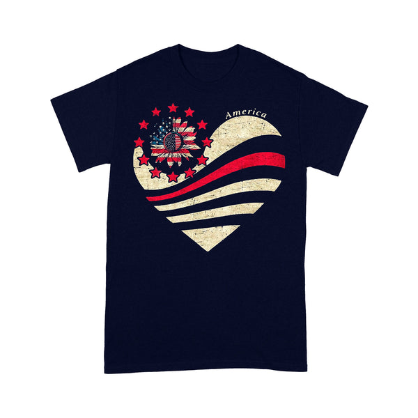 Heart Sunflower American Flag T-shirt M By AllezyShirt