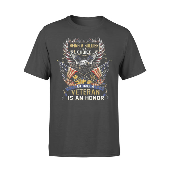 Being A Soldier Is A Choice Being A Veteran Is An Honor Eagle American Flag T-shirt L By AllezyShirt