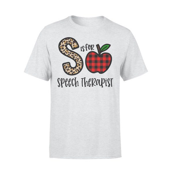 S Is For Speech Therapist Apple Buffalo Plaid T-shirt XL By AllezyShirt