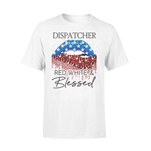 Lips Dispatcher Red White And Blessed American Flag Independence Day T-shirt L By AllezyShirt