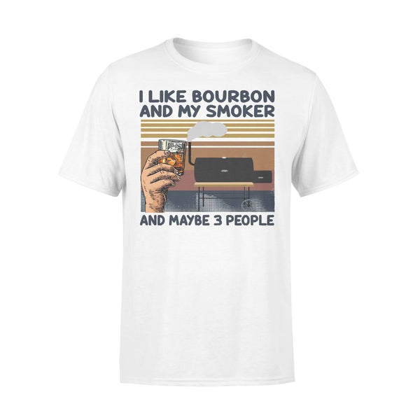 I Like Bourbon And My Smoker And Maybe 3 People Wine Vintage Retro T-shirt L By AllezyShirt