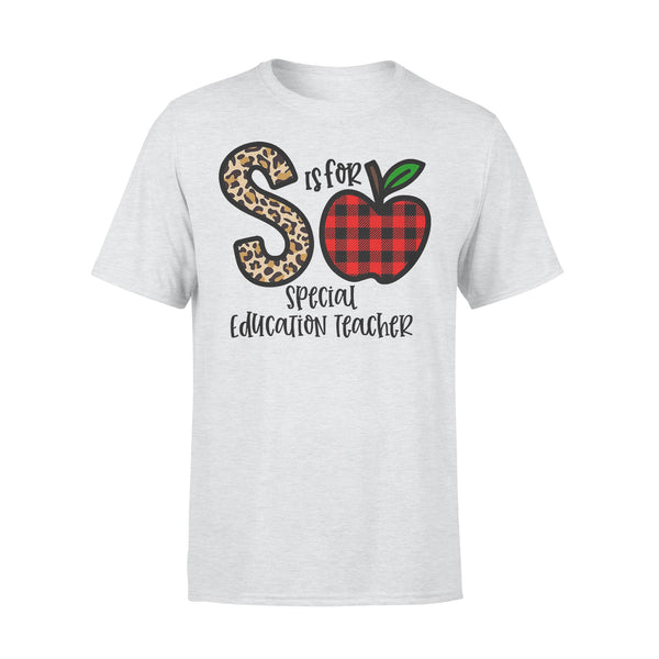 S Is For Special Education Teacher Apple Buffalo Plaid T-shirt XL By AllezyShirt