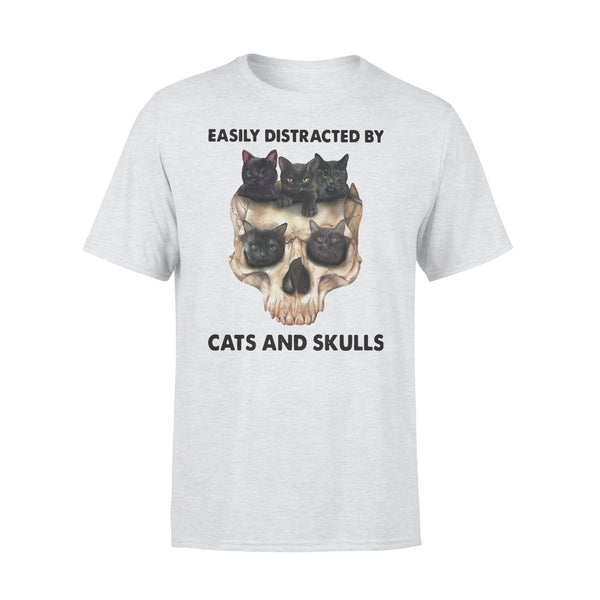 Easily Distracted By Black Cats And Skulls T-shirt XL By AllezyShirt