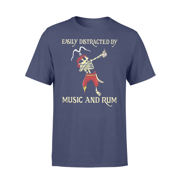 Pirate Skeleton Easily Distracted By Music And Rum T-shirt XL By AllezyShirt