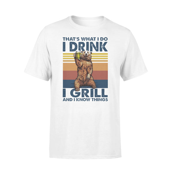 Bear Drinling Beer That'S What I Do I Drink I Grill And I Know Things Vintage T-shirt L By AllezyShirt