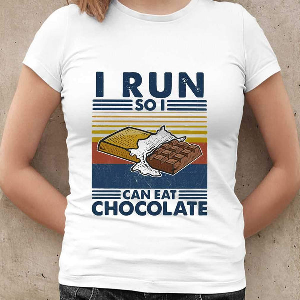 i Run So I Can Eat Chocolate Running Vintage T-shirt S By AllezyShirt