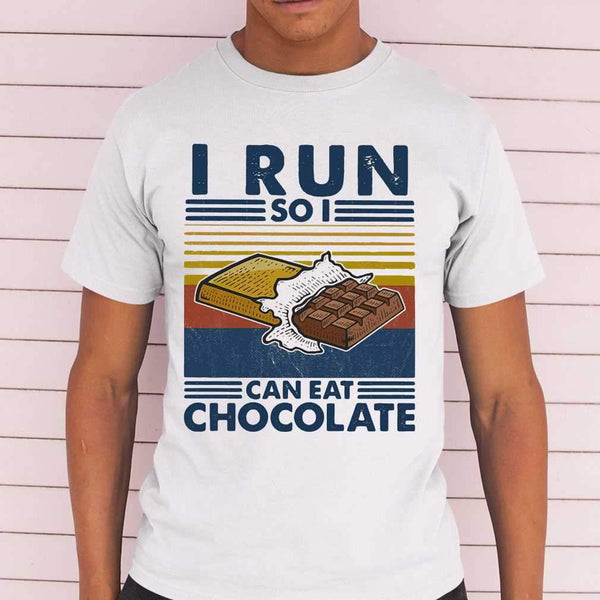 i Run So I Can Eat Chocolate Running Vintage T-shirt M By AllezyShirt