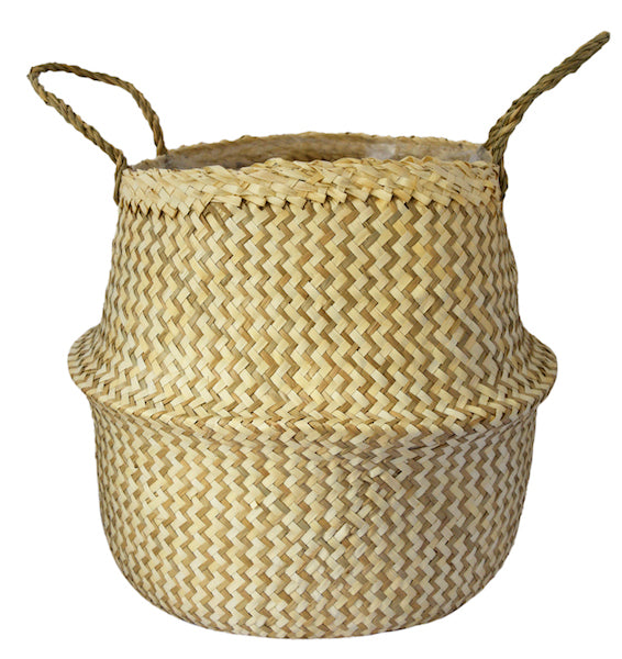 Hand Finished Woven Basket Planter - Two Colors