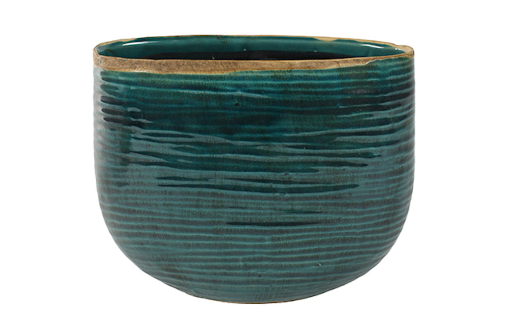 Glazed Ceramic Pot in Turquoise