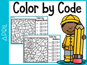 April Kindergarten Color by Code