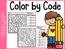 Load image into Gallery viewer, February Kindergarten Color by Code