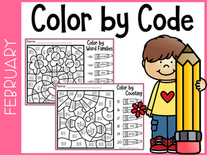 February Kindergarten Color by Code