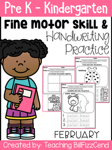 February Fine Motor Skills and Handwriting Practice