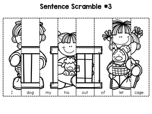 First Grade Sentence Building Set 3