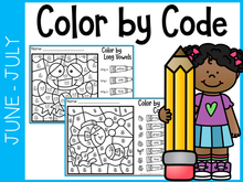Load image into Gallery viewer, June-July Kindergarten Color by Code