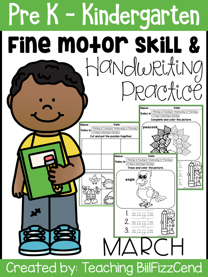 March Fine Motor Skills and Handwriting Practice