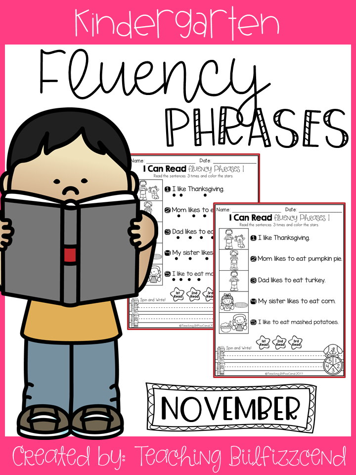 November Reading Fluency Phrases