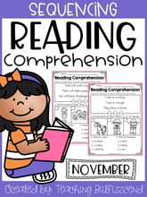 Load image into Gallery viewer, November Sequencing Reading Comprehension