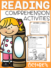 Load image into Gallery viewer, October Reading Comprehension Activities
