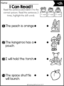 Phonics Fluency Read and Match (Digraphs)