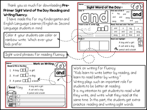 Sight Word of the Day Reading and Writing Fluency (Pre-Primer)