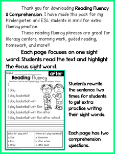 Reading Fluency and Comprehension First Grade