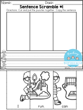 Load image into Gallery viewer, Free Sentence Building For Beginning Readers & Writers