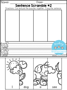 Free Sentence Building For Beginning Readers & Writers