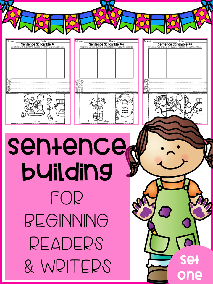 Sentence Building For Beginning Readers & Writers (Set 1)