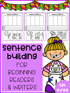 Sentence Building For Beginning Readers & Writers (Set 3)