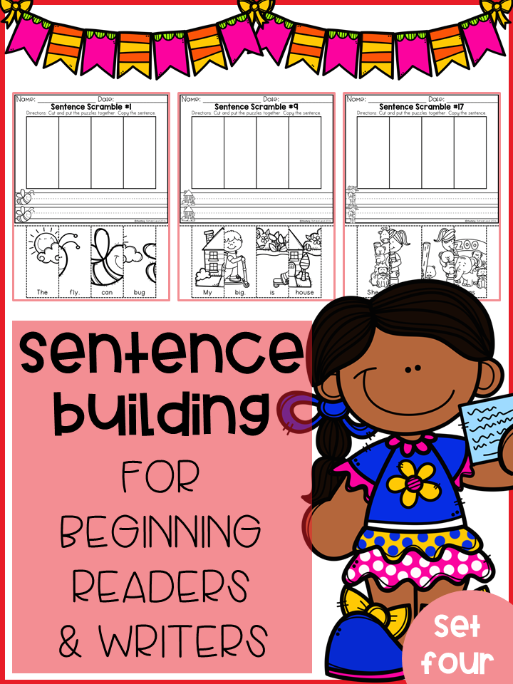 Sentence Building For Beginning Readers & Writers (Set 4)