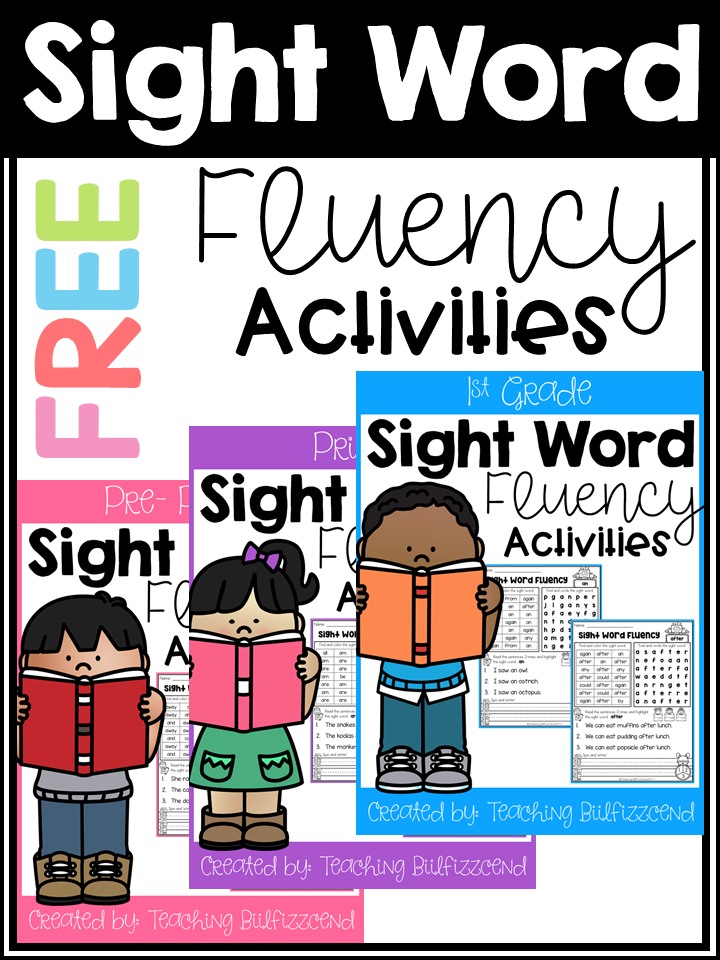 Sight Word Fluency Activities Freebies
