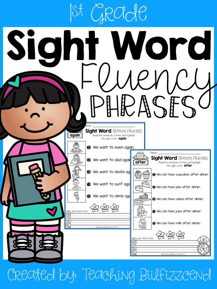 Sight Word Fluency Phrases (1st Grade)