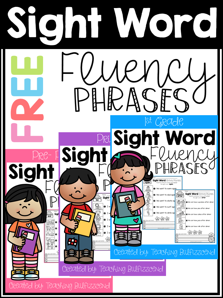 Sight Word Fluency Phrases Freebies