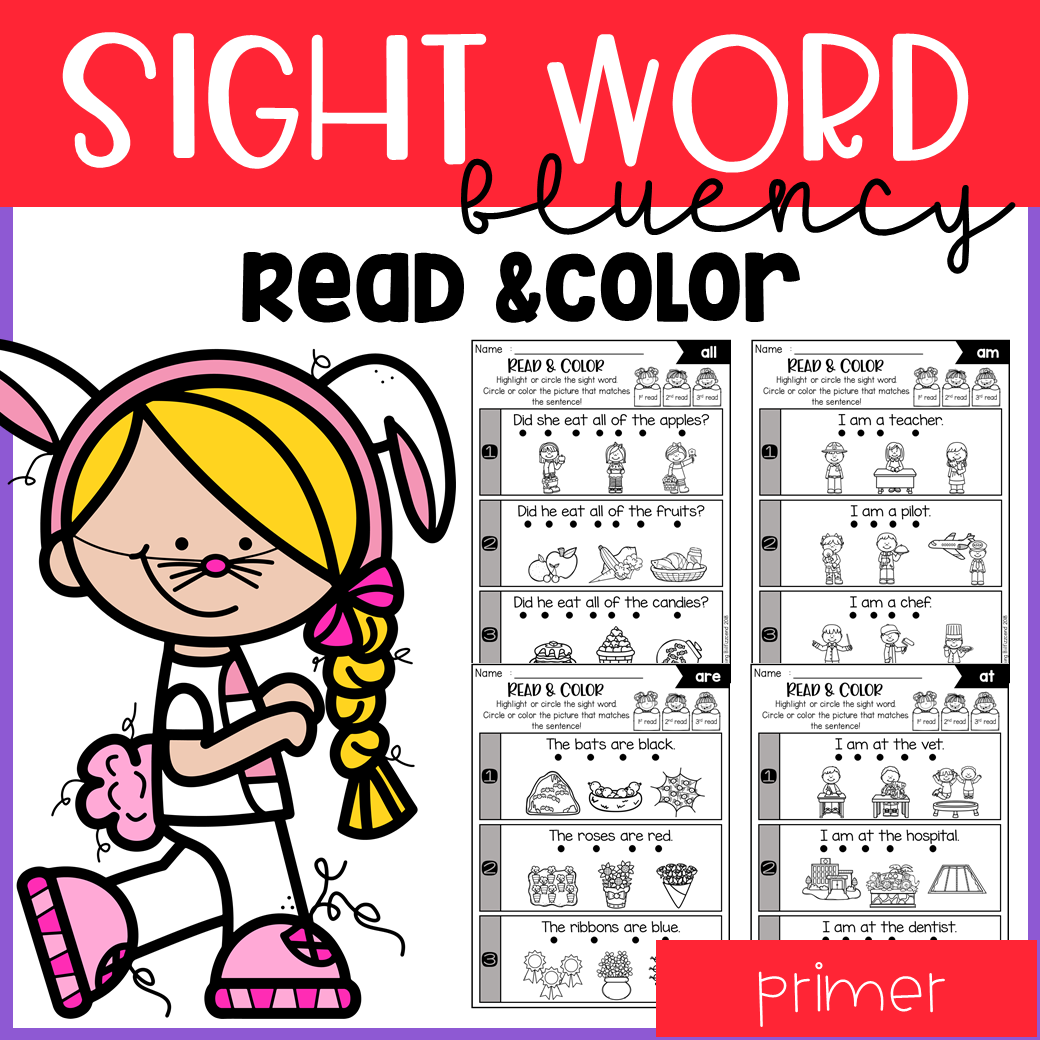 Sight Word Fluency Read and Color Primer