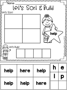 Free Sight Word Sort and Build