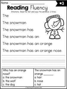 Winter Reading Fluency and Comprehension